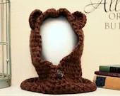 Brown Bear Hooded Cowl - Toddler