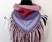 Toddler pink and purple Hooded Scarf with Fringe