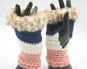 Fur Trimmed Wrist Warmers in navy, pink and ivory