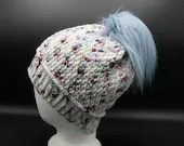 Merino Wool Beanie in blue, purple, and white w/Fur Pom