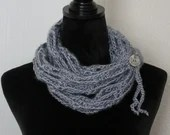 Blue Fashion Infinity Scarf w/tie and button