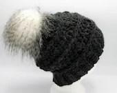 Bobble Beanie in 'Charcoal' w/Milani faux fur Pom