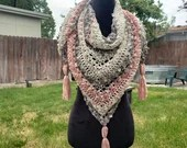 Bliss Triangle Scarf in 'Watercolor' coral ivory gray