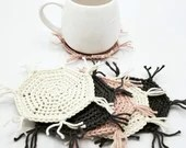Set of 6 Cotton Mug Rugs in linen, rose, and gray (ping gray cream)