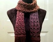 Textured Ombre Broomstick Lace Fringe Scarf in 'Fall Sunset'