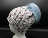 Merino Wool Beanie in blue, purple, and white w/Fur Pom