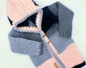 Crochet Patchwork Hoodie in Navy, Pink and Gray - Size 2/3T
