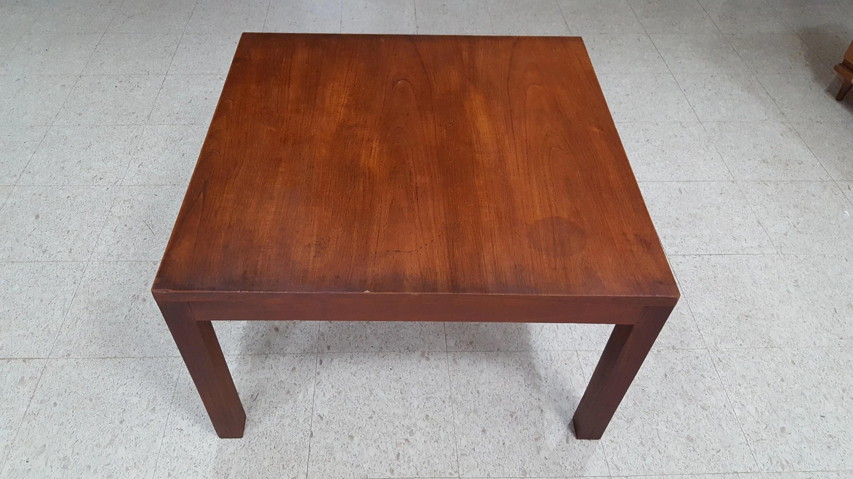 Mid Century Modern Walnut Square Parsons Coffee Table Beautiful Patina