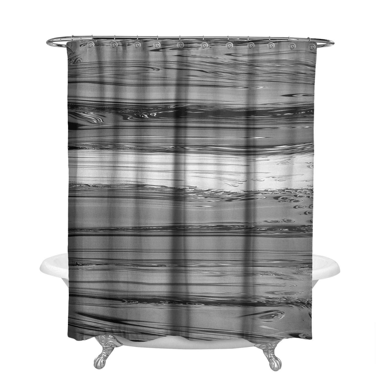 Gray Scale Monochrome Striped Shower Curtain W Bathmat Set Options Black And White Bath Curtain Striped Paint Design