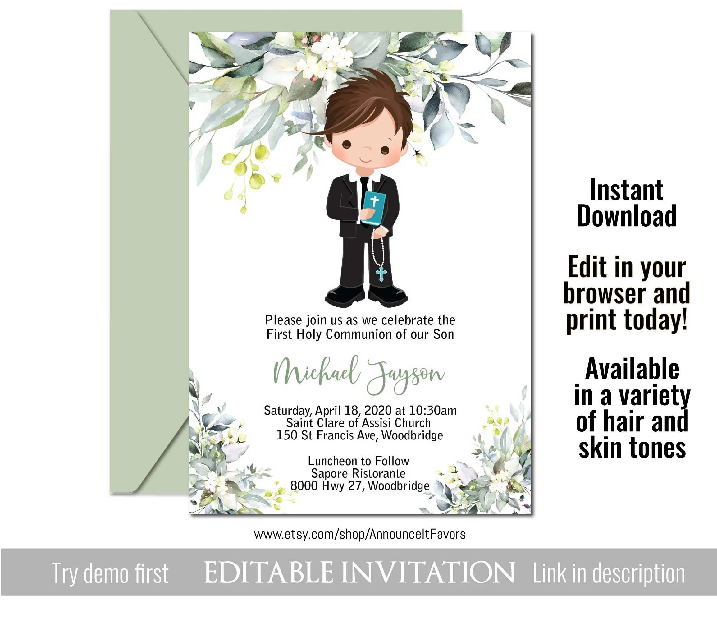 boys first communion invitations 1st holy communion invitation template by announce it