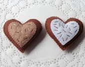 Felt Play Food, Biscuits, Sugar Cookies, Chocolate Heart, Children's Toy, Pretend Play, Felt Cookies, Tea Party, Bakery Toys, Set of Two