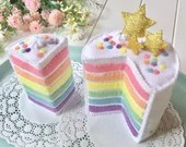 Mini Rainbow Cake, Felt Layer Cake, Play Food, Pretend Food, Pretend Play, Layered Cake, Tea Party, Stars, Gold stars, Felt Food, Birthday