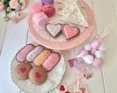 Tea Party Felt Tea Set, Play Food, Macarons, Biscuits, Sugar Cookies, Tea Bags, Fairy Bread, Marshmallows, Gingerbread, Pretend Play