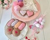 Tea Party Felt Tea Set, Play Food, Macarons, Biscuits, Sugar Cookies, Tea Bags, Fairy Bread, Marshmallows, Gingerbread, Pretend Play