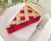 Cherry Pie, play food, felt food, felt pie, slice of pie, pretend play, dessert, play kitchen, bakery toy