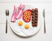 Felt Big Breakfast Play Food, Bacon, Fried Eggs, Baked Beans, Sausages, Full-Size Pretend Food, English Breakfast, Cooked, Soft Play Food
