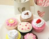 Felt Cupcakes, Play Food, Felt Food, Pretend Food, Play Cupcakes, Handmade Gift for Children and Cupcake Lovers! Set of 6 Original Designs