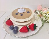 Blueberry Pancakes, play food, felt food, felt pancakes, pancake stack, pretend play, breakfast food, play kitchen, blueberries, strawberry