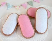 Felt Food, Gingerbread, Honey Iced Biscuits, Pink White Iced Cookies, Pretend Food, Australian Biscuits, Play Food, Soft Felt Biscuits