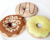Felt Donuts - Set of 3 Donuts for Pretend Play, Felt Food, Play Food, Tea Party, Chocolate Caramel Banana Icing Sprinkles Doughnuts