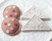 Felt Play Food, Biscuits, Chocolate Chip Cookies, Fairy Bread, Children's Toy, Pretend Play, Felt Cookies, Tea Party, Tea Set, Set of Four