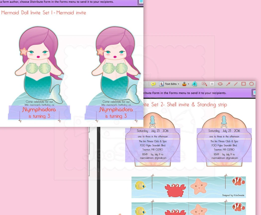 mermaid standing doll party invite