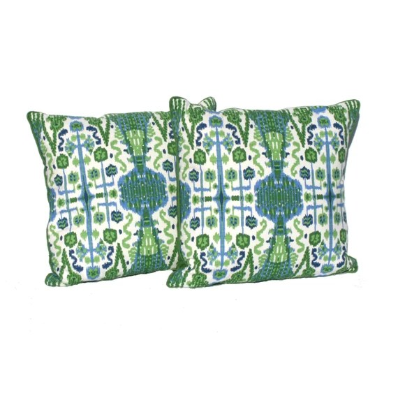 "Decorative Pillow covers Kelly Green, Navy and White Ikat Designer Fabric- 20"" Pillows -Hidden Zipper Closure"