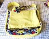 Batgirl messenger bag, DC comics superhero, padded and reversible