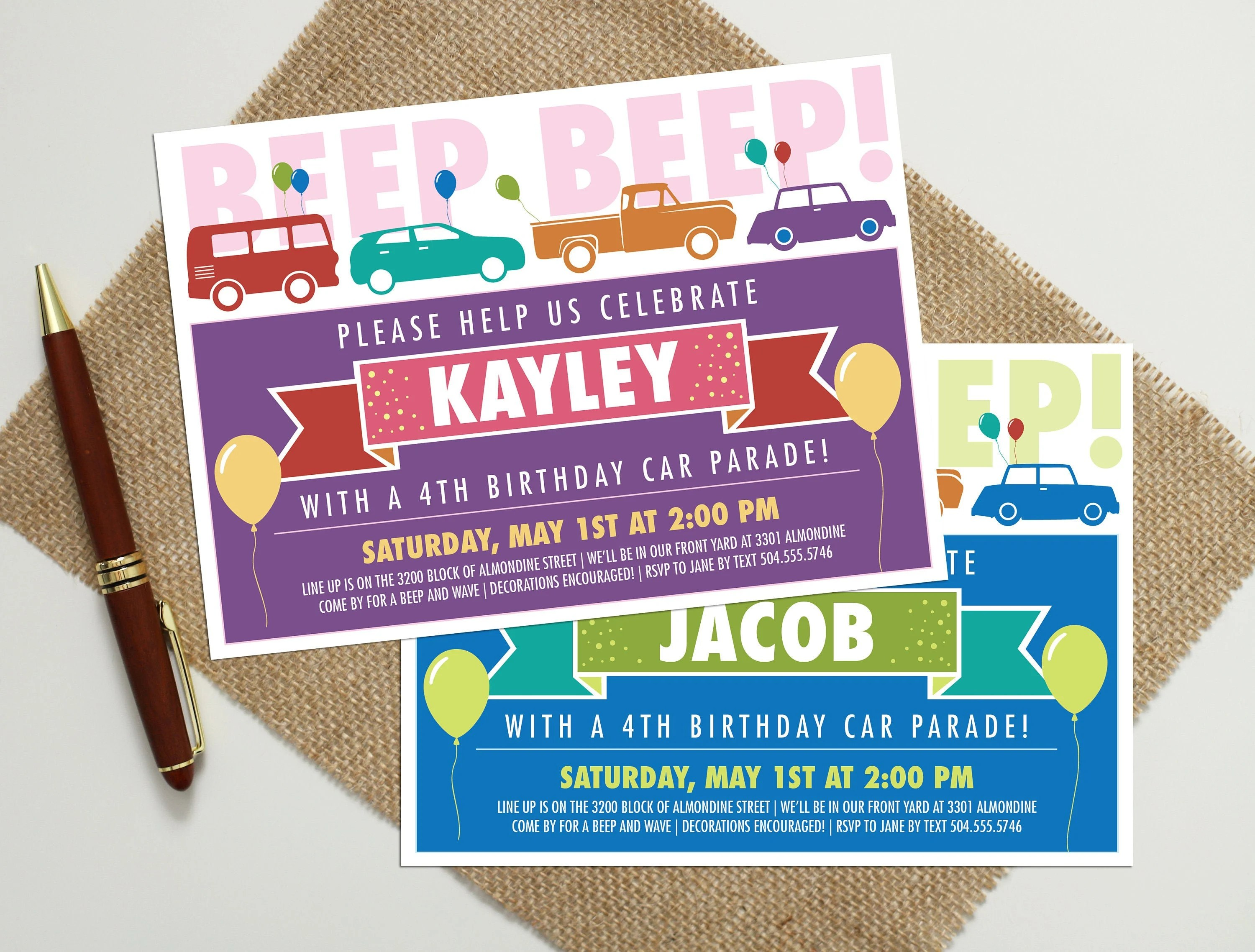 drive by birthday parade invitation drive by birthday party invite personalized birthday car parade invitation drive by parade invite