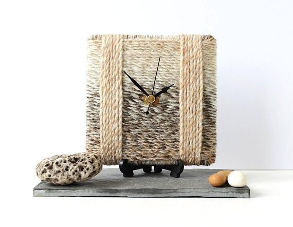 Beige Wool Clock by NaturalClocks