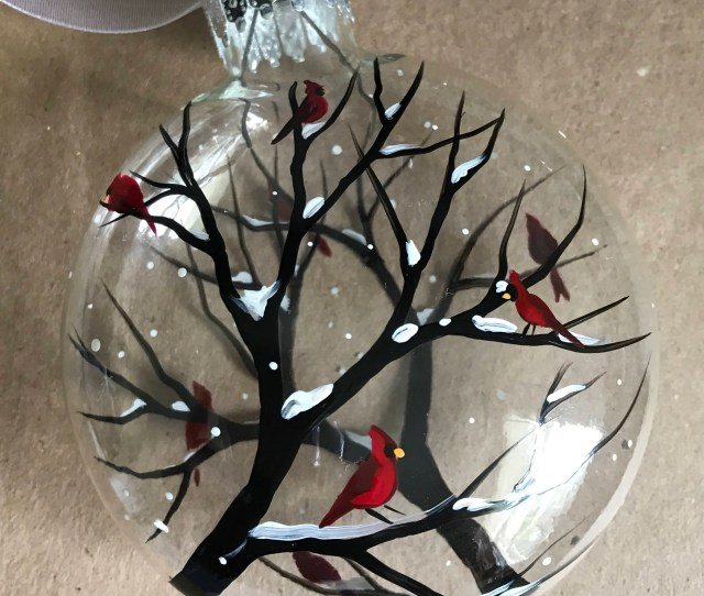 Red Cardinal Winter Ornament Snowy Tree Branch Holiday Gift Hand Painted Christmas White December Glass Personalized Unique Bird Collectible