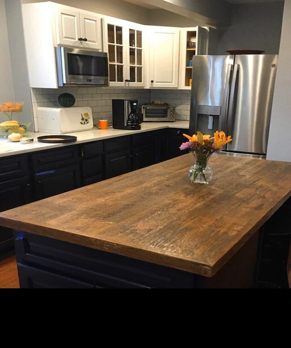 custom size reclaimed wood kitchen island dining table top attach to your cabinet base custom made to order
