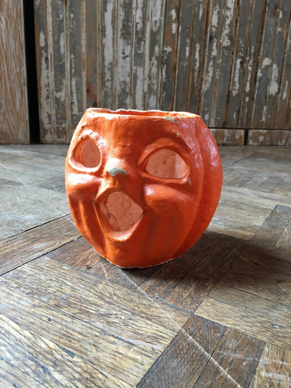 S Jack O Lantern Paper Mache Pumpkin Vintage Halloween