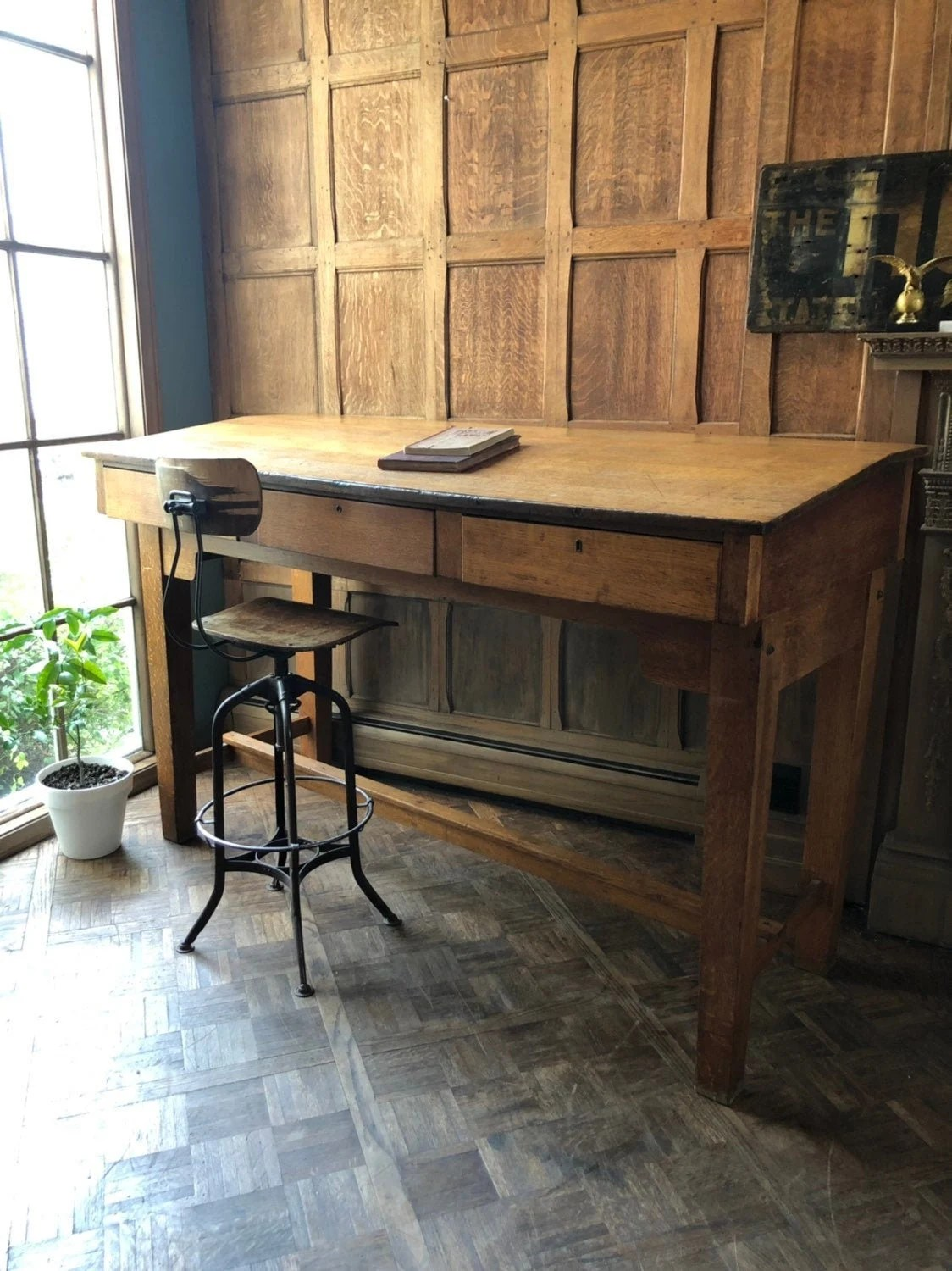 Reserved Large Antique Standing Desk Quarter Sawn Oak Mission Style Table Oak Writing Desk With Drawers Antique Drafting Table