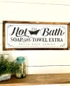 Large Hot Bath Sign Soap And Towel Extra Bathtub Sign Etsy