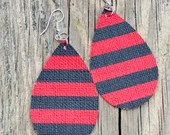 Red and Black Stripes Teardrop Leather Earrings
