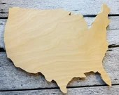 """USA Map Wood Cutout Blank 11x9"""" Great for crafting!"""