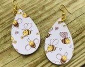 Honey Bees Teardrop Leather Earrings