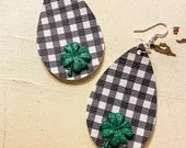 Black and White Gingham - Buffalo Check Teardrop Leather Earrings - Shamrocks or Four-Leaf Clovers