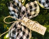 Farmhouse Christmas Ornaments - Set of Four (4) Ornaments with Embellishments