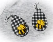 Black and White Gingham - Buffalo Check Teardrop Leather Earrings - Bumblebee
