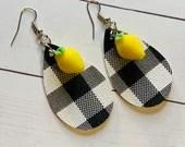 Black and White Buffalo Check and Lemon Teardrop Leather Earrings