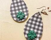 Black and White Gingham - Buffalo Check Teardrop Leather Earrings - Shamrocks or Four-Leaf Clovers