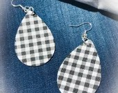 Black and White Gingham - Buffalo Check Teardrop Leather Earrings