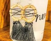 Jute and Tassels Dangle Earrings