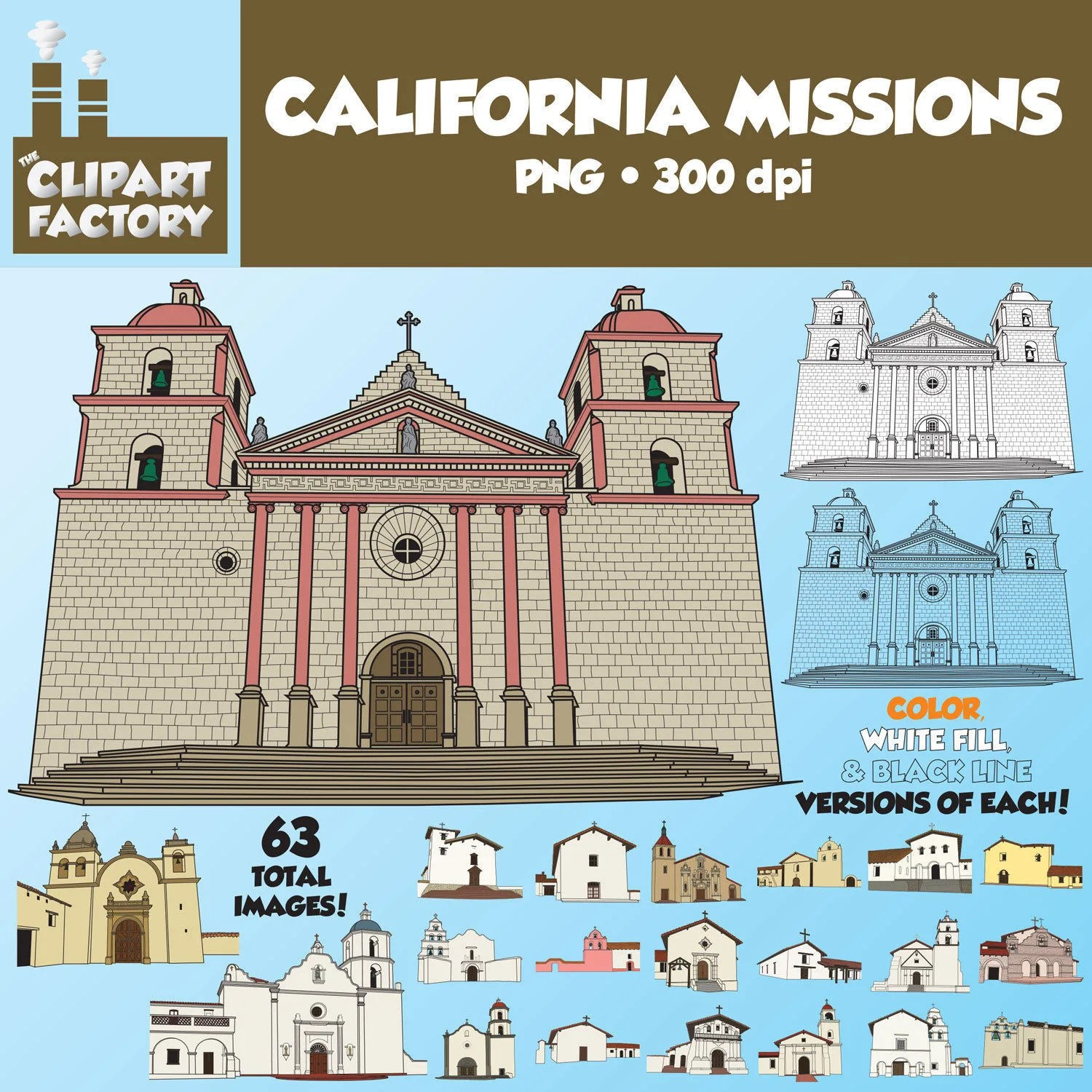 Clip Art 21 California Missions