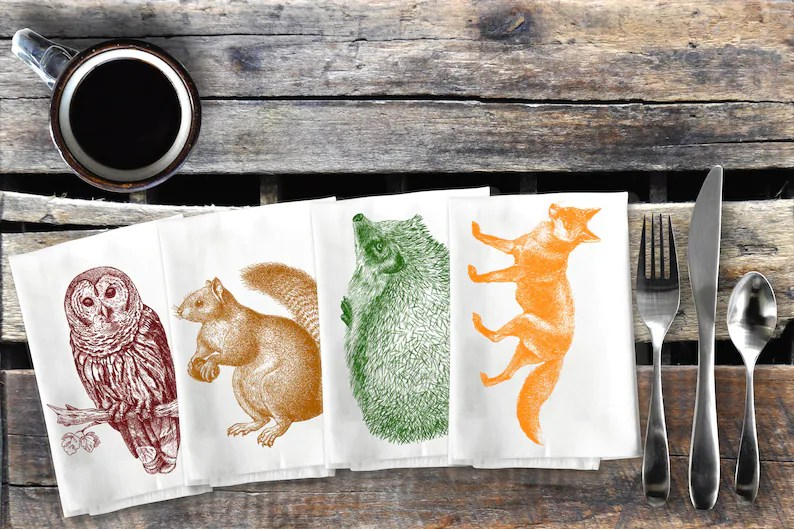 Woodland Animal Napkins Forest Critter Cloth Napkin Set Owl image 0