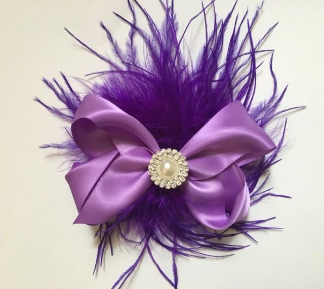 lavender purple satin hair bow feather hair fascinator