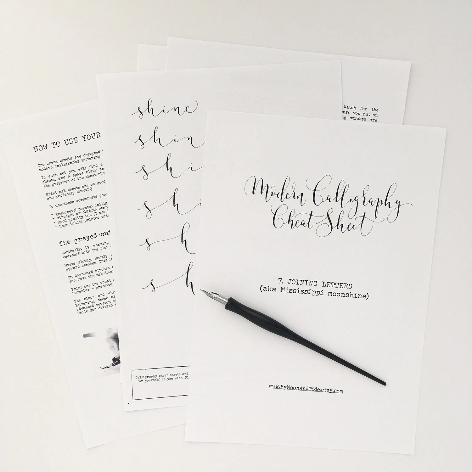 Calligraphy Cheat Sheet 7 Of 9 Joining Letters Instant Download Calligraphy Worksheets Learn