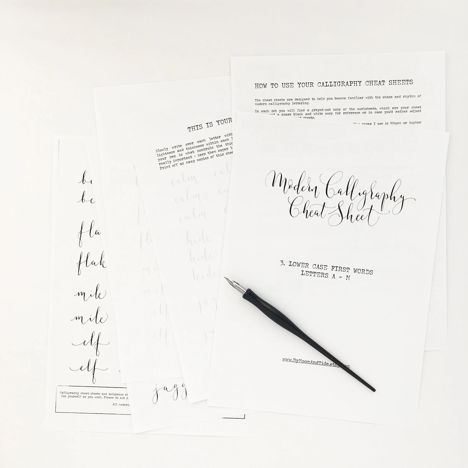Calligraphy Cheat Sheet 3 Of 9 Lower Case Words A